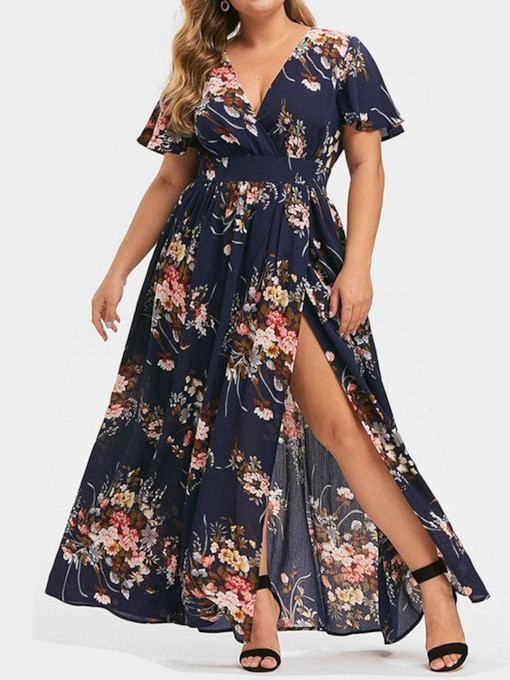 Plus Size Short Sleeve Floor-Length Split V-Neck Floral Women's Dress