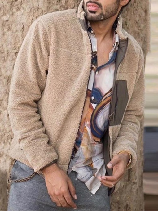 Stand Collar Patchwork Color Block Thick Loose Men's Jacket