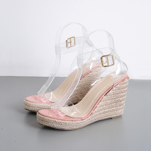 Open Toe Buckle Wedge Heel Thread Sandals