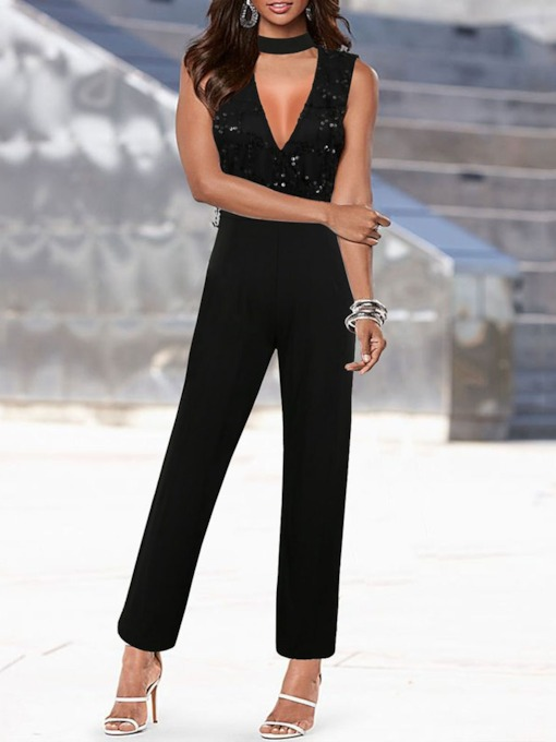 Western Ankle Length Plain Sequins Straight Women's Jumpsuit