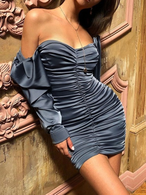 Off Shoulder Long Sleeve Above Knee Pleated Mid Waist Women's Dress