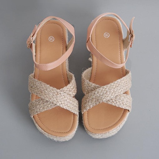 Open Toe Wedge Heel Buckle Casual Sandals
