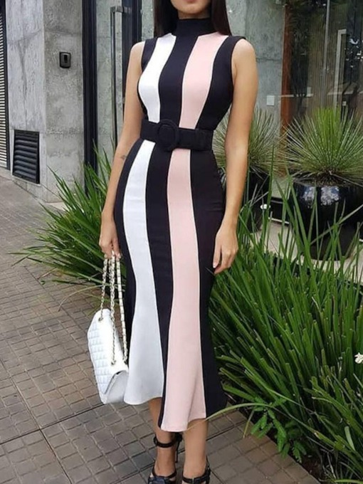 Stand Collar Sleeveless Mid-Calf Print Date Night/Going Out Women's Dress