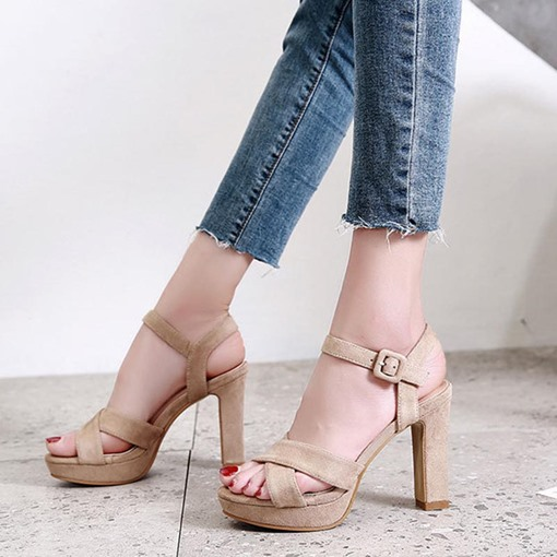 Chunky Heel Buckle Open Toe Sandals