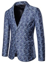 Print Geometric Single-Breasted Notched Lapel Men's leisure Suit