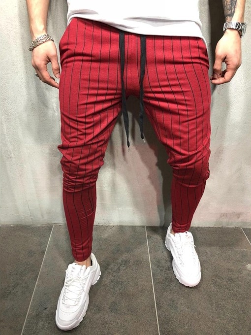 Stripe Print Pencil Pants Mid Waist Men's Casual Pants