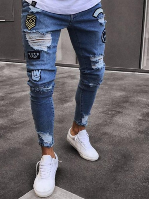 Pencil Pants Hole Mid Waist Denim Men's Jeans