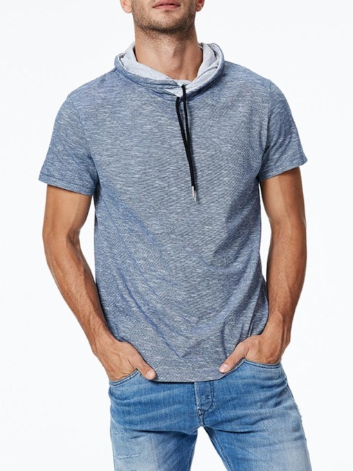 Casual Hooded Plain Short Sleeve Cotton BlendsMen's T-shirt