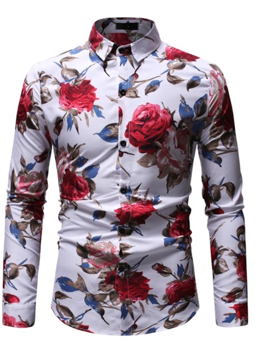 Lapel Casual Floral Print Slim Standard Men's Shirt