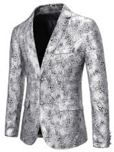 Notched Lapel Fashion Floral Single-Breasted Men's leisure Suit