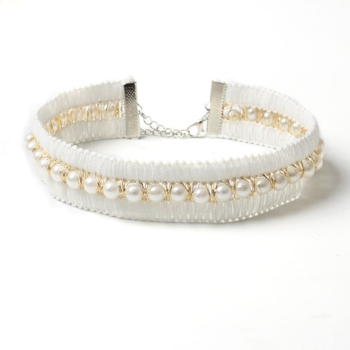Pearl Inlaid Sweet Female Choker Necklace