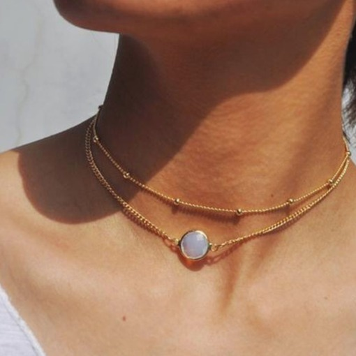Diamante Choker Necklace Vintage Female Necklaces