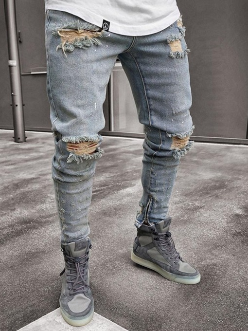 Pencil Pants Plain Worn Mid Waist Skinny Denim Men's Jeans
