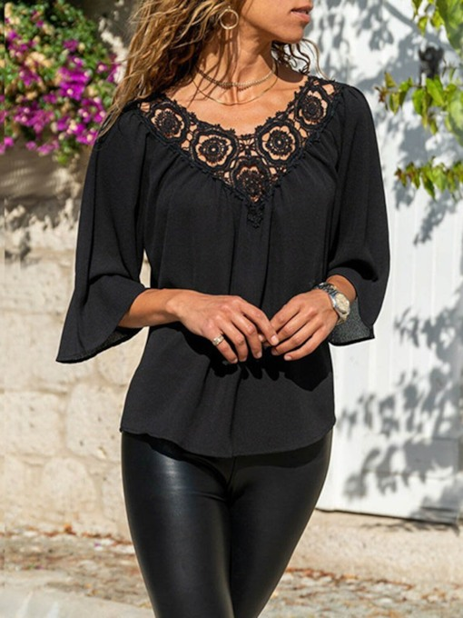 Plain Casual Three-quarters Sleeves Polyester Women's Blouse