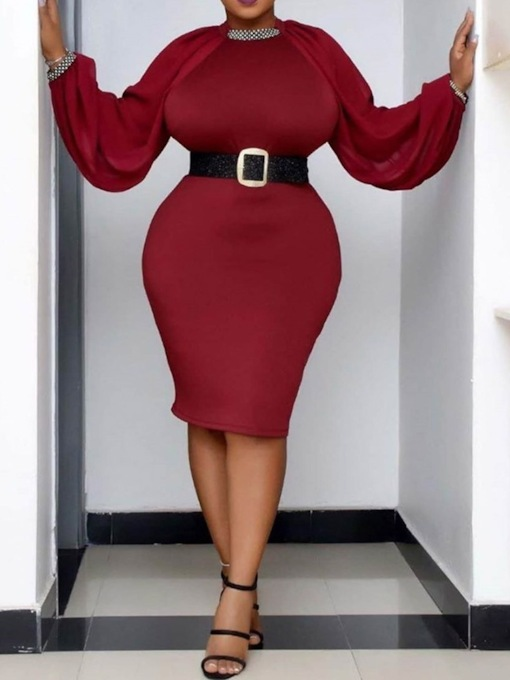 Plus Size Long Sleeve Knee-Length Round Neck Bodycon Women's Dress