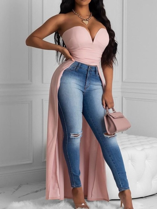 Polyester Asymmetric Wrapped Chest Bra Long Women's Tank Top