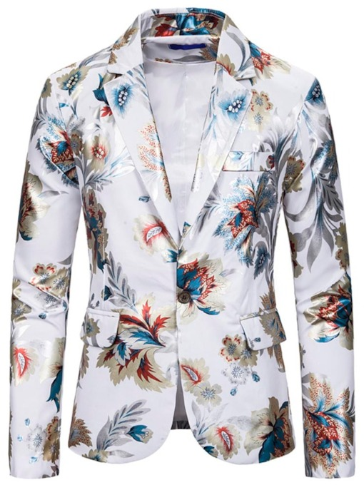 Notched Lapel Slim Print Casual Men's leisure Suit
