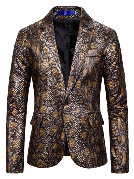 Fashion Print Slim Lapel Men's leisure Suit