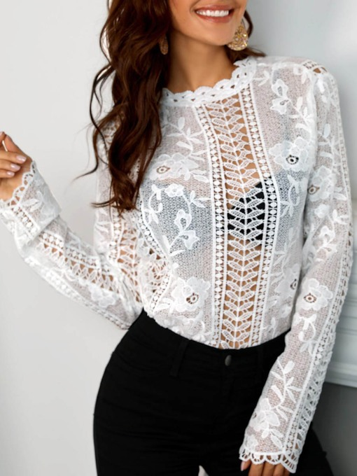 Hollow Lace See Enough Women's Blouse