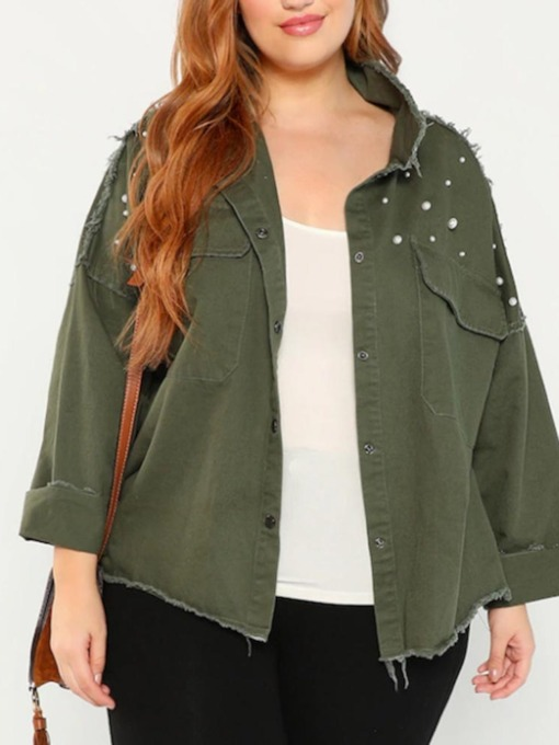 Plus Size Straight Standard Bead Women's Jacket