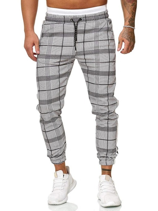 Harem Plaid Mid Waist Men's Casual Pants