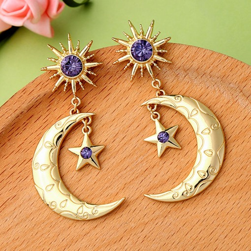 Vintage Alloy Diamante Star Moon Party Earrings