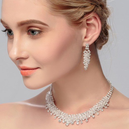 Romantic Diamante Earrings Engagement Jewelry Sets
