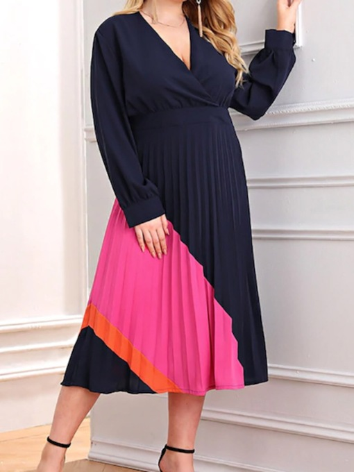 Plus Size V-Neck Mid-Calf Pleated Long Sleeve Date Night/Going Out Women's Dress