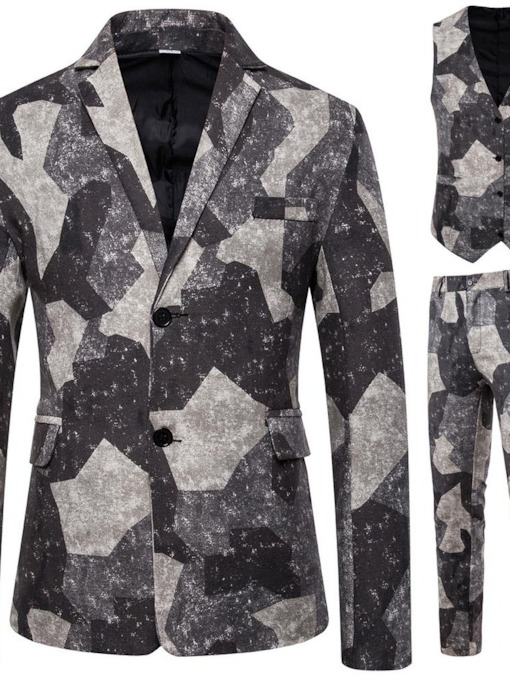 Print Pants Single-Breasted Color Block Men's Dress Suit