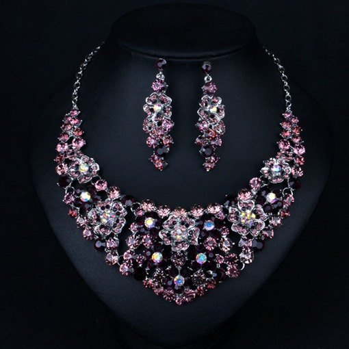 Diamante Floral Necklace Engagement Jewelry Sets