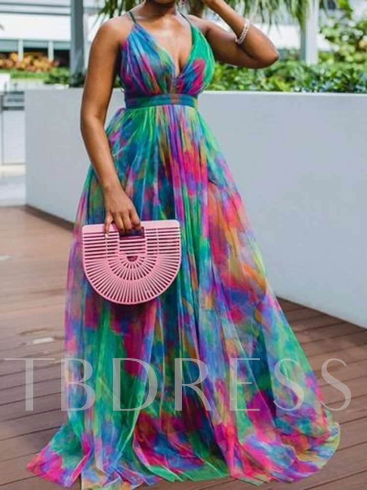 Sleeveless Print V-Neck Floor-Length Expansion Women's Dress