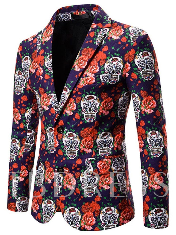 Floral Slim Lapel Single-Breasted Men's leisure Suit