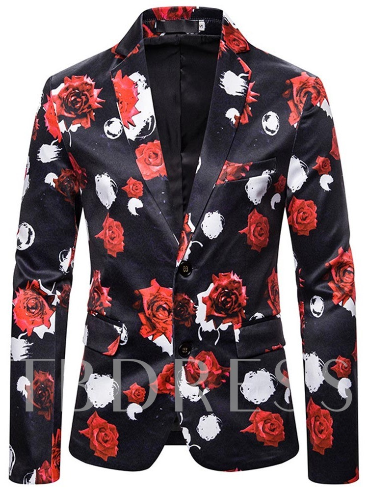 Single-Breasted Floral Notched Lapel Loose Men's leisure Suit