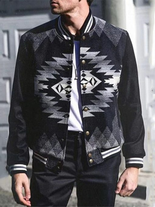 Stand Collar Print Geometric Thick Slim Men's Jacket