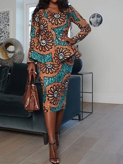 Print Office Lady Shirt Pullover Women's Two Piece Sets