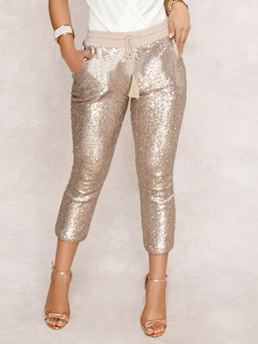 Sequins Slim Mid-Calf Women's Casual Pants