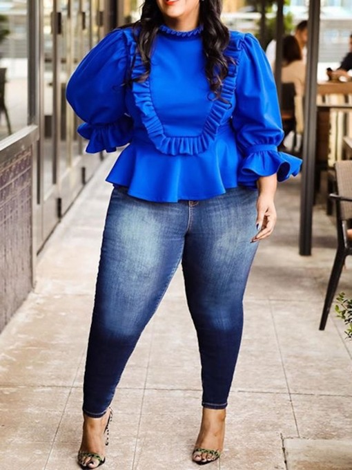 Plus Size Three-Quarter Sleeve Plain Loose Women's T-Shirt