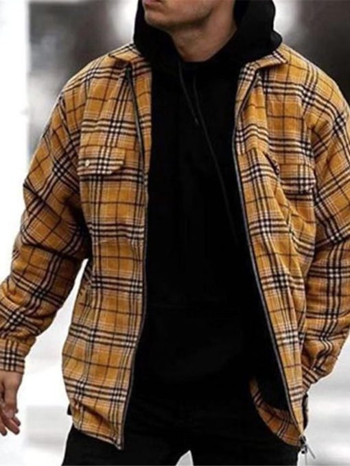 Print Plaid Lapel Thick Zipper Men's Jacket