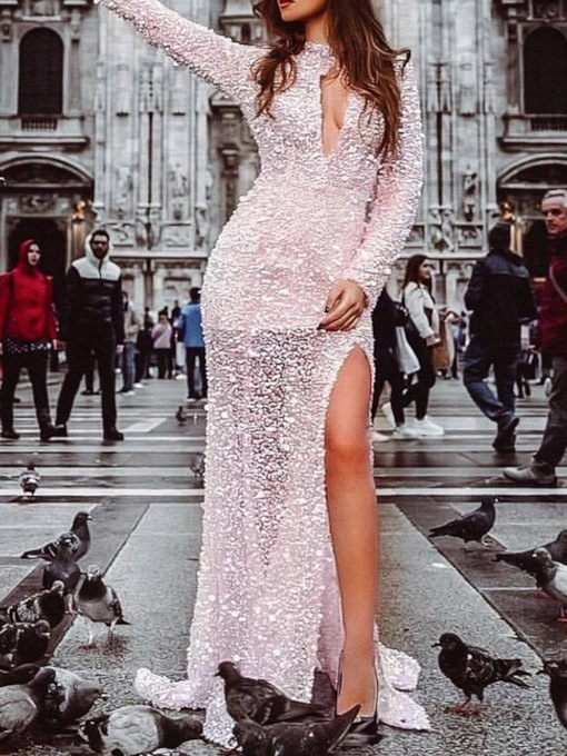 Long Sleeve Stand Collar Floor-Length Sequins Women's Dress