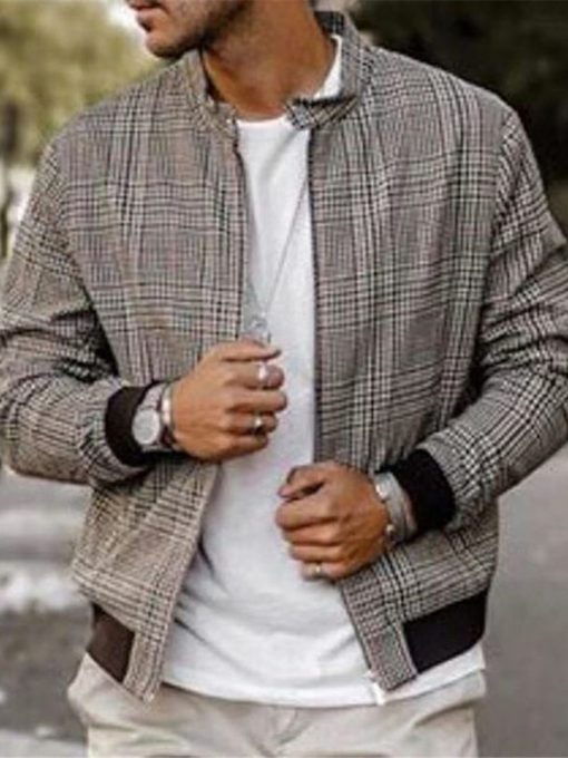 Stand Collar Print Plaid Men's Jacket