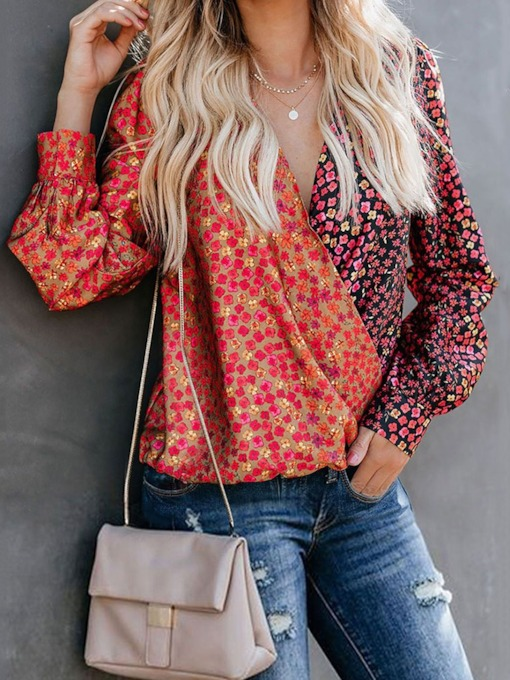 Print Plant Contrast V-neck Long Sleeve Pullover Loose Women's Blouse