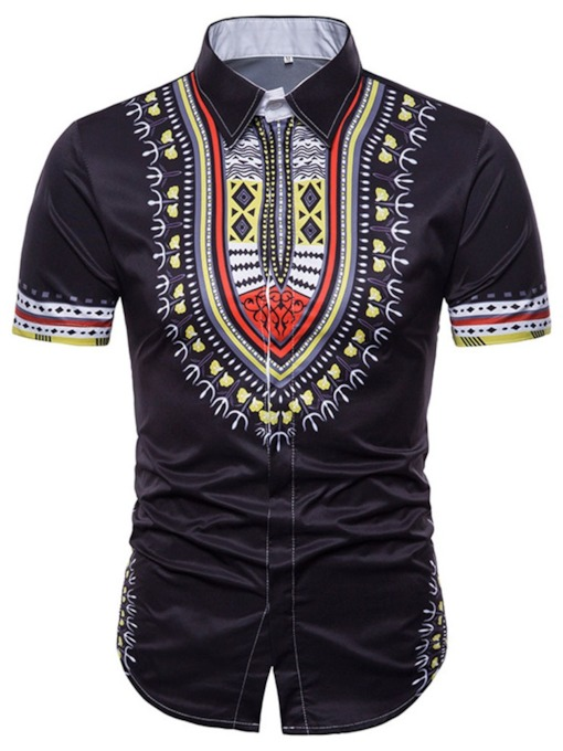 Vintage Geometric Lapel Casual Fashion Ethnic Print Short Sleeve Summer Men's Shirt