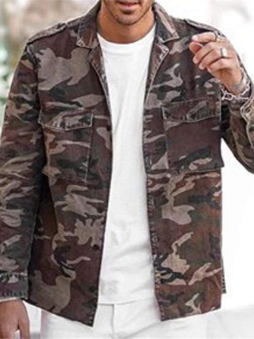 Print Camouflage Lapel Slim Men's Jacket