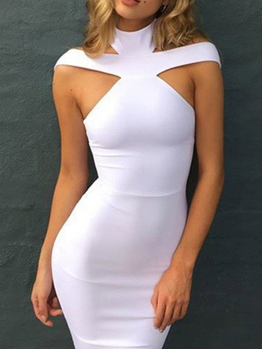 Sleeveless Mid-Calf Hollow Stand Collar Bodycon Women's Dress