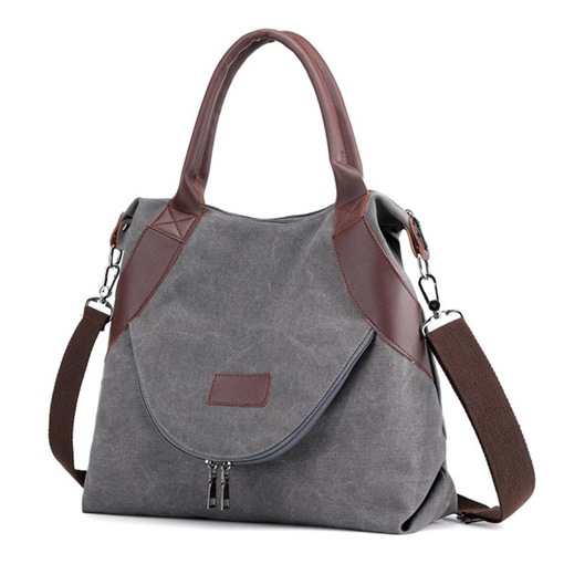 Canvas Plain Thread Rectangle Shoulder Bags