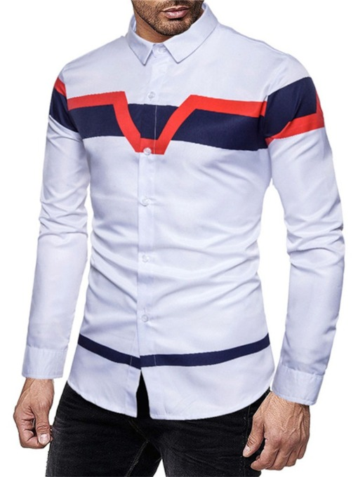 Print Color Block Lapel Casual Slim Men's Shirt