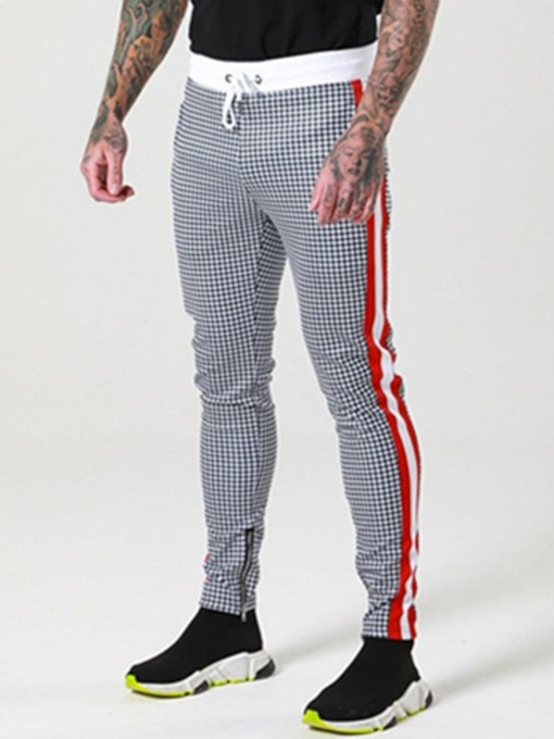 Plaid Pencil Pants Print Casual Men's Casual Pants