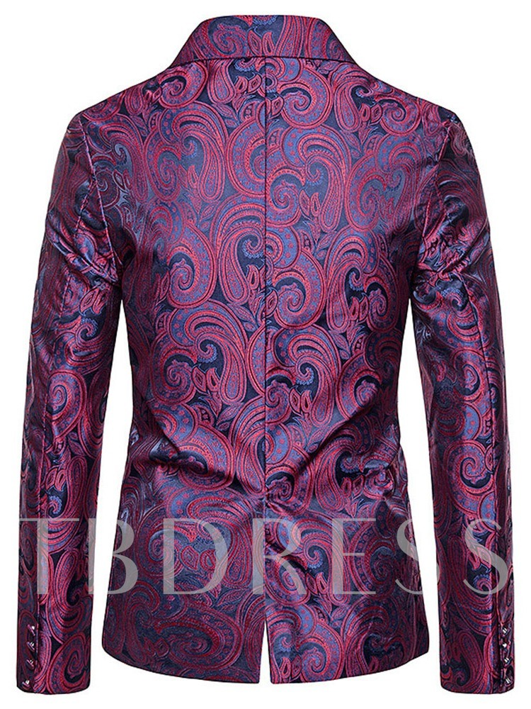 Geometric Print Single-Breasted Slim Men's leisure Suit