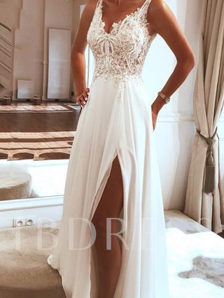 V-Neck Sleeveless Floor-Length Appliques Split Women's Dress