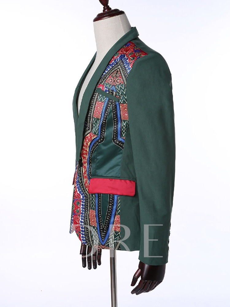 Ethnic Slim Geometric One Button Men's leisure Suit